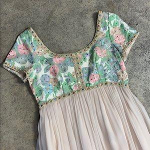 Vintage Pastel Tapestry Princess Rhinestone Dress